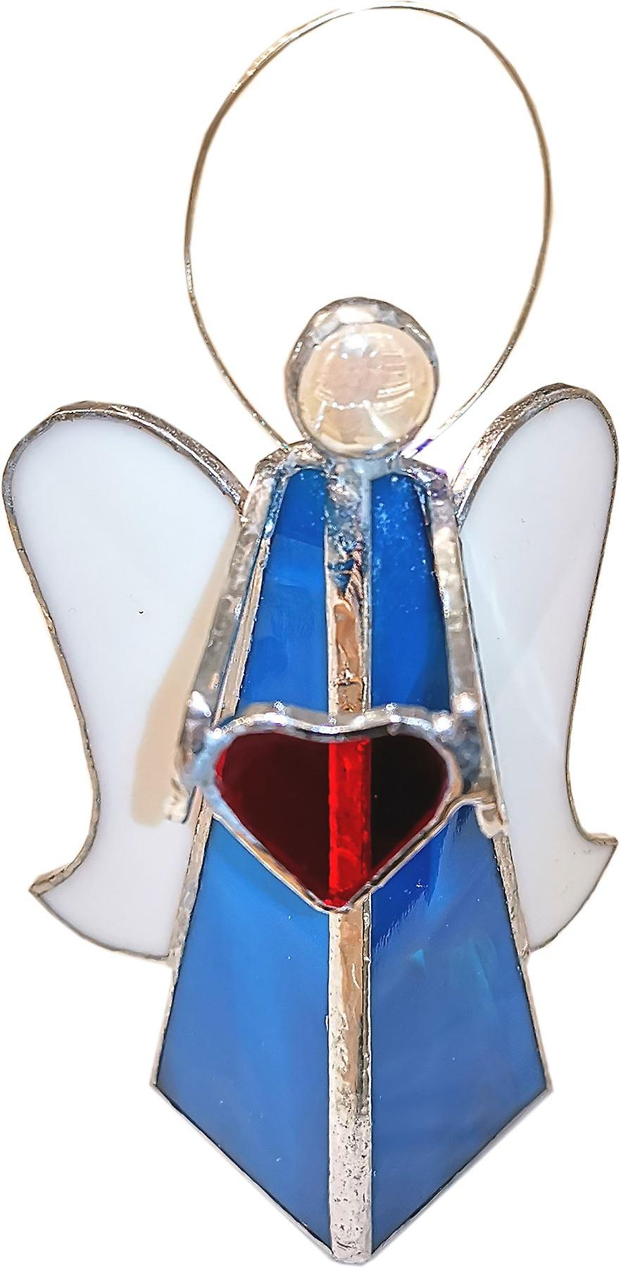 Simmerdim Design Stained Glass Angel with Heart Tealight Holder Turquoise
