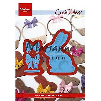 Marianne Design Creatables Easter Bunny with Bow Die, Metal, Blue, 16.1 x 11.4 x 0.2 cm