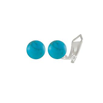 Eternal Collection Solo Turquoise Howlite Semi Precious Sterling Silver Stud Clip On Earrings