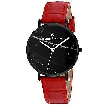 Christian Van Sant Women's Lotus Black Dial Watch - CV0424RD