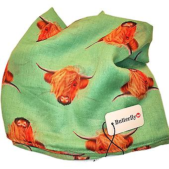 Green Highland Cow Scarf by Butterfly Fashion London