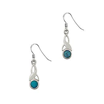Celtic Holy Trinity Knot Birthstone Small Drop Style Pair Of Earrings - A Turquoise Stone