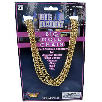 Big Daddy Pimp Gangster 70s 80s Rapper Hip Hop Mens Costume Gold Chain Necklace