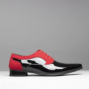 Mister Carlo Torino Mens Pointed Faux Suede/patent Shoes Black & Red