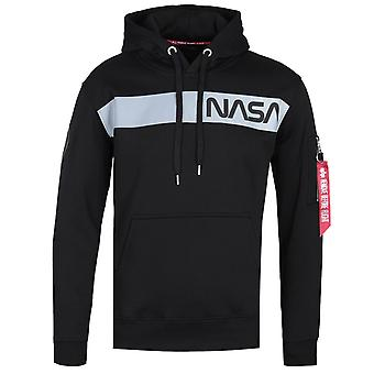 Alpha Industries reflekterande NASA stripe svart hoodie