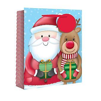 Eurowrap Wide Gusset Christmas Gift Bags with Santa Reindeer Design (Pack of 12)