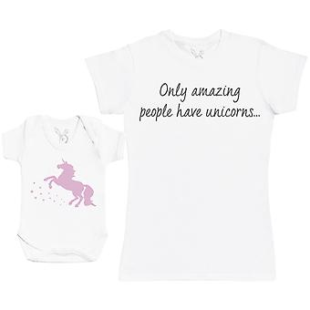 Only Amazing People Have Unicorns Matching Mother Baby Gift Set - Womens T Shirt & Baby Bodysuit