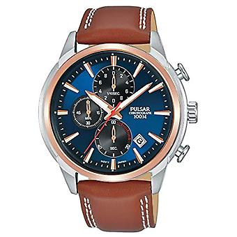 Pulsar men's chronograph Quartz Watch with leather band PM3120X1