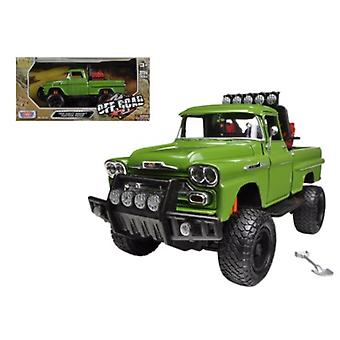 1958 Chevrolet Apache Fleetside Pickup Truck Off Road Green 1/24 Diecast Modelo por Motormax
