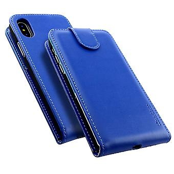 For iPhone XS,X Case,iCoverLover Styled Vertical Flip Genuine Leather Cover,Blue