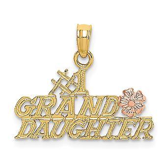 20mm 14k Deux tonalité s'administrent Numéro 1 Petite-fille avec fleur et deux cadeaux de bijoux de charme de couleur pour des femmes