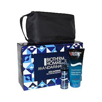 Biotherm Homme Aquafitness Shower Gel 200ml Shave Foam 50ml and Toiletry Bag