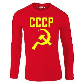 リアリティグリッチCCCPハンマーと鎌メンズTシャツ - 長袖