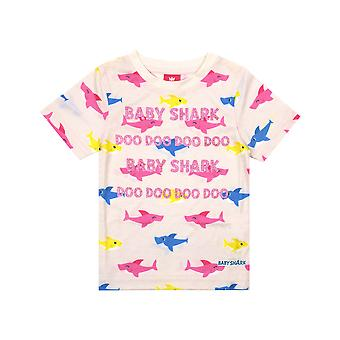 Baby Shark Glitter All Over Shark Print Pink Girl's T-Shirt