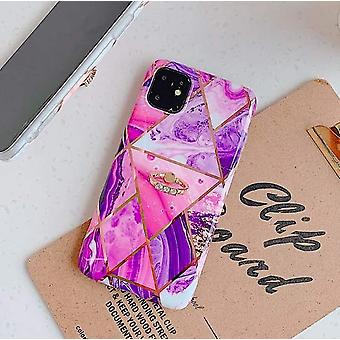 Mobile shell for iPhone XR with pink marble pattern + ring holder