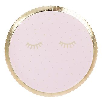 Pink Pamper Partidul Plăci de hârtie x 8 aur dejucate roz și rose gold