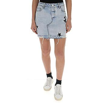 Amiri Y0w11474deskyindigo Women's Light Blue Cotton Skirt