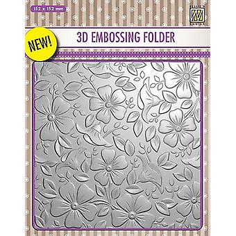 Nellie's Choice 3D Emb. folder Flowers-3 EF3D003 152x152mm