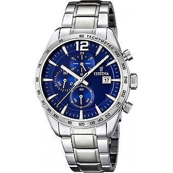 Festina F16759 3 - klocka stål blå man