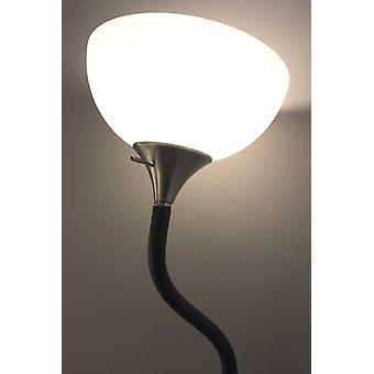 Bendable Black Metal Floor Lamp with Alabaster Bowl Shade