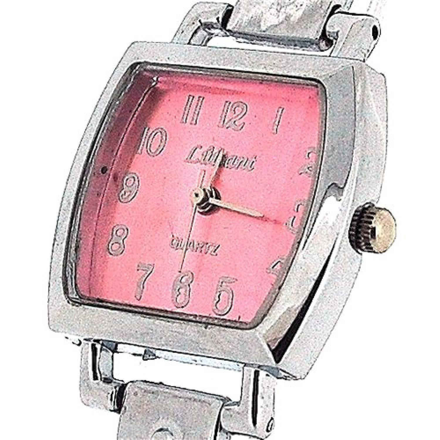 The Olivia Collection Ladies Square Pink Dial Bracelet Strap Dress Watch COS50