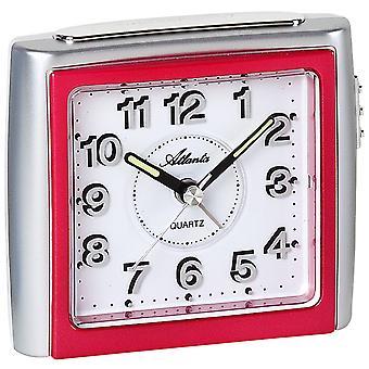 Atlanta 1958/1 Herätyskello kvartsi analoginen vaaleanpunainen hopea hiljainen ilman tikittävää valoa torkku