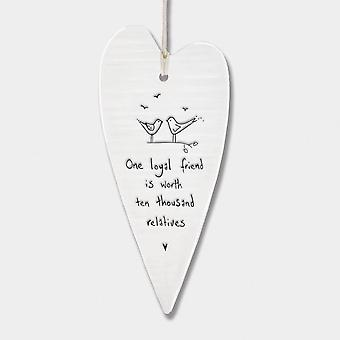 East of India Long Hanging Porcelain Heart 'One loyal friend..' Gift