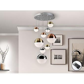 Schuller Sphere - lampe LED de 9 lumières. Fait de métal, finition chromée. Des nuances sphériques polycarbonées de 0 cm, 12 cm, 0 cm, avec texture à l'intérieur et métal fini en cuivre satin, cuivre de satin et chrome. Longueur réglable. 54W LED. 3000K. 3780 lm. Graduable. - 793091D