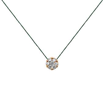 Choker Flower Cluster 18K Gold and Diamonds, on Thread - Rose Gold, Emerald