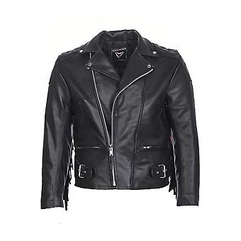 Attitude Clothing Tassled Leather Biker Jacket