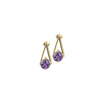 Jacques Lemans - Studs sterling silver plated with amethyst - SE-O112C