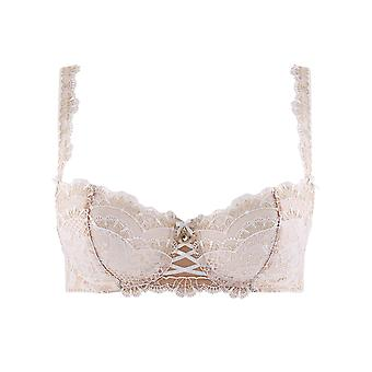 Aubade ND14 Women's Soleil Nocturne Opale Off White Floral Lace Embroidered Half Cup Bra