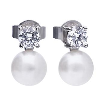 Diamonfire E5778 Silver Pearl And Zirconia Earrings