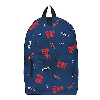David Bowie Backpack Bag Rebel Rebel Galaxy Logo new Official Rocksax Blue