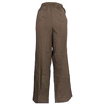 Alfred Dunner Women's Plus Pull-On Elastic Waist Cotton Pants Brown
