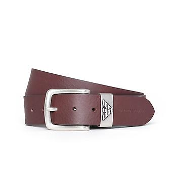 Emporio Armani Dark Brown Leather Logo Buckle Belt