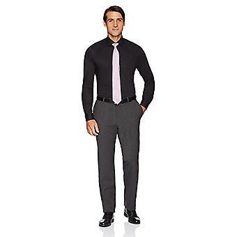 BUTTONED DOWN Men's Slim Fit Stretch Poplin Non-Iron Dress Shirt, Black, 16.5...