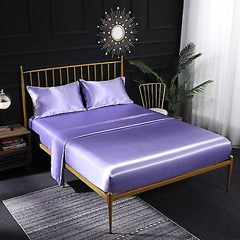 Soft Luxury Imitated Satin Silk Sheet Set, Fitted Flatted Bedclothes
