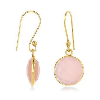 ADEN Vergoldet facettierte rosa Quarz Runde Form Ohrringe (id 4412)