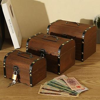 Vintage Wooden Treasure Chest Piggy Bank - Wood Carving Handmade Retro Child