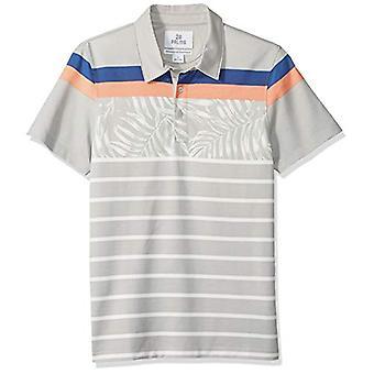 28 Palms Men's Standard-Fit Performance Cotton Tropical Print Pique Golf Polo Shirt, Grey Vintage Floral Stripe, Large