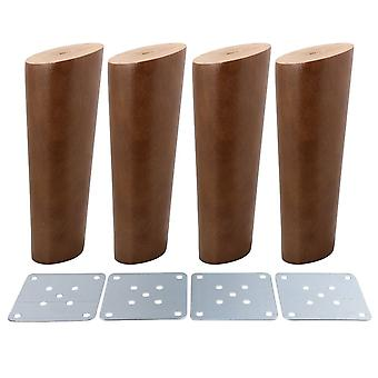 4pcs Wood Furniture Foot Leg Feet 15cm Walnut Color