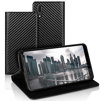 Book case with card compartment for Huawei P20 Magnetic Lock Wallet Leatherette Carbon Fiber Black
