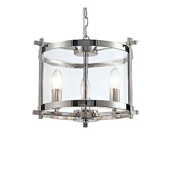 Ciondolo cilindrico a soffitto 3 luce E14 cromato lucido, vetro trasparente