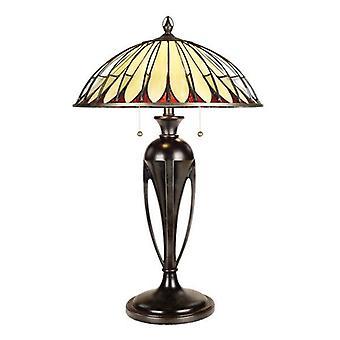 2 Light Table Tiffany Lamp Vintage Bronze, E27