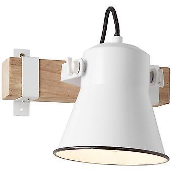 BRILLIANT Lampe Plow Wandspot blanc / bois clair   1x A60, E27, 10W, convient pour les lampes normales (non incluses)   Échelle A++
