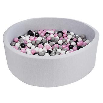Ball pit 125 cm med 600 bolde sort, hvid, lys lilla og grå