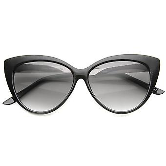 Womens Glam Fashion High Metal Temple Oversized Cat Eye Sunglasses