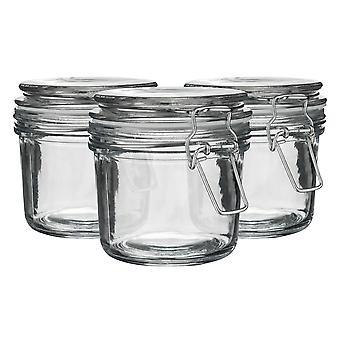Argon bordservice glas opbevaring krukker med lufttæt klip låg - 350ml Sæt - White Seal - Pack af 6