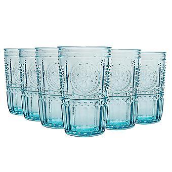 Bormioli Rocco Romantic Highball Glasses Set - Vintage Italian Cut Glass Cocktail Tumblers - 475ml - Bleu - Pack de 12